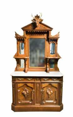Renaissance Victorian Marble Top Sideboard