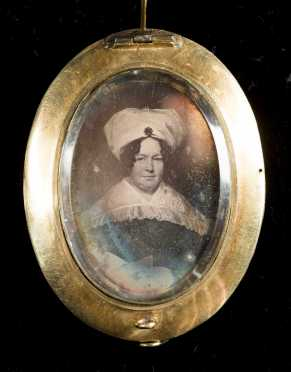 Woven Hair and Daguerreotype Brooch