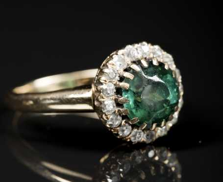 Emerald and Diamond unmarked Yellow Gold Cluster Ring
