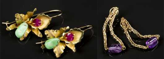 Two Pair Yellow Gold Earrings