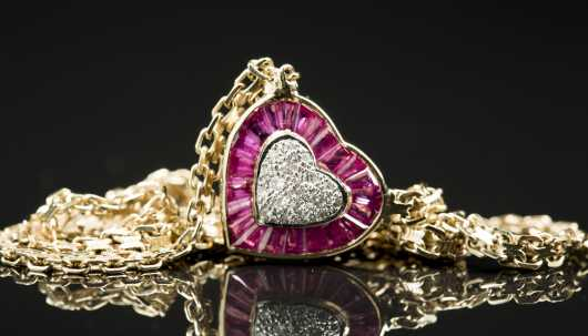 14kt. Ruby and Diamond Heart Pendant and Chain