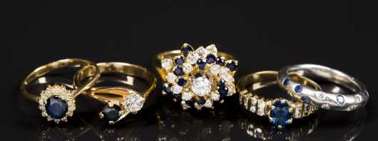 5 Gold and Sapphire and Diamond Rings