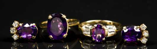 5 Amethyst and Diamond and Yellow Gold Pieces