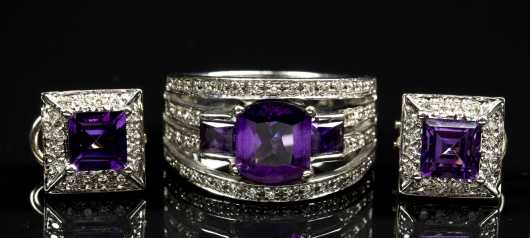 Amethyst, Diamond and 14kt. White Gold Earring and Ring Set