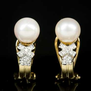 14kt. Pearl and Diamond Earrings