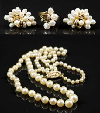 Four Pearl and 14kt. Pieces