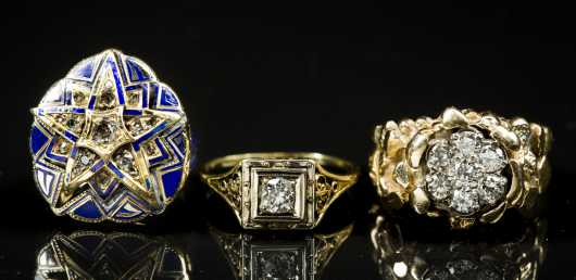 Three Gold and Diamond Rings