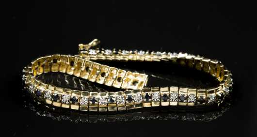 10kt. Sapphire and Diamond Tennis Bracelet