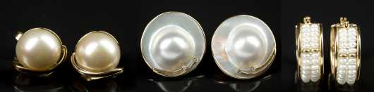 Three Pairs Pearl and Yellow Gold Earrings