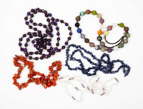 Five Semi-Precious Necklaces