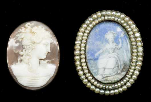 Shell Cameo and Watercolor and Seed Pearl Brooch