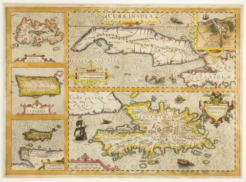 Caribbean Map, 1619 -- Mercator Hondius