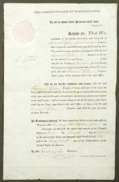 [Massachusetts History] - Commonwealth Justice of the Peace appointment document, 1810