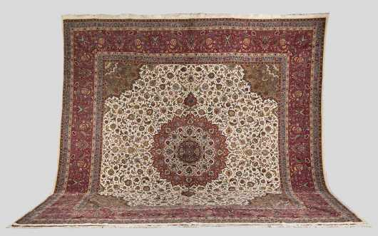 Silk and Wool Tabriz Room Size Oriental Rug