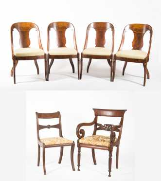 Four Empire Side Chairs Plus Two Others