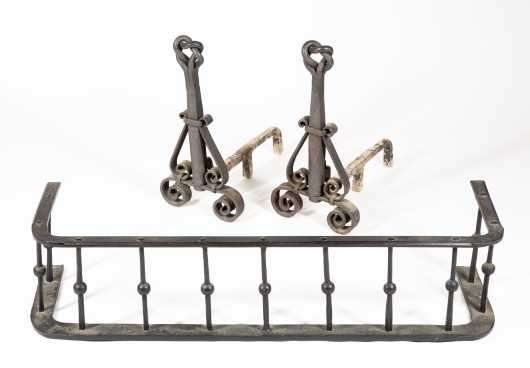 "Wrought Iron Andirons and ""D"" Shaped Fender"