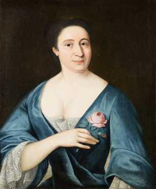 18thC Portrait of a Woman Holding a Rose