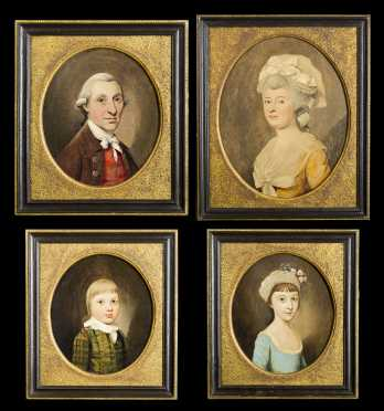 Set of Four 18thC English Family Portraits Attributed to Francis Alleyne, UK (1774-1790)