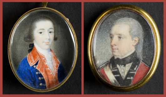 Two 18thC English Miniature Paintings of Officers