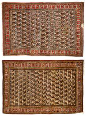 Two Similar Qum Scatter Size Oriental Rugs