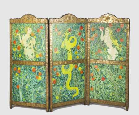 Gillian Still Paint Decorated Three Part Standing Screen