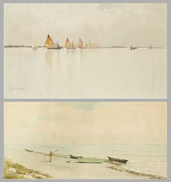 Two Seascape Watercolor Paintings