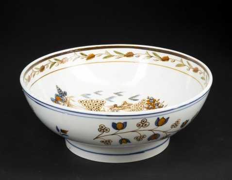 Soft Paste Decorated Punch Bowl