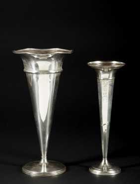 2 Sterling Silver Vases