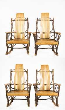 Set of Four Modern Stick Back Rocking Chairs