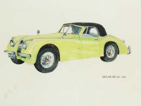 Watercolor Painting of 1954 Jaguar XK 120