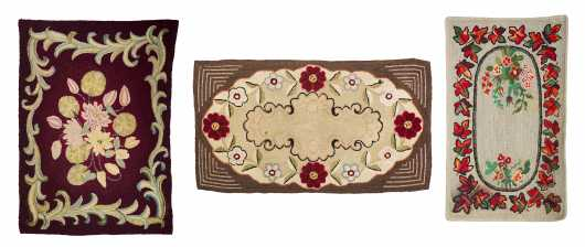 Lot of Three Hooked Rugs
