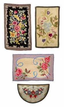 Lot of Four Hooked Rugs