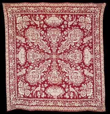 Red and White Jacquard Coverlet