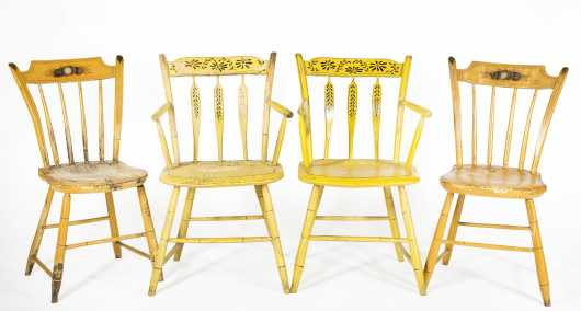 Two Pair of Thumback Decorated Chairs