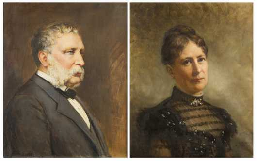 Portraits of Lucy and Francis Schroder by T.W. Wood, NY (1823-1903) and Carle Blenner, NY (1862-1952)