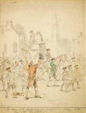 Hand Colored Drawing of 18th/ 19thC Celebration