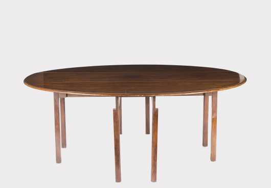 Custom Mahogany Drop Leaf Hunt Style Table