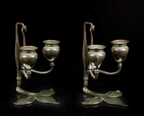 Tiffany Studios, NY #1232 Art Nouveau Candle Sticks