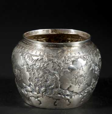 Asian Silver Jardiniere Form Jar