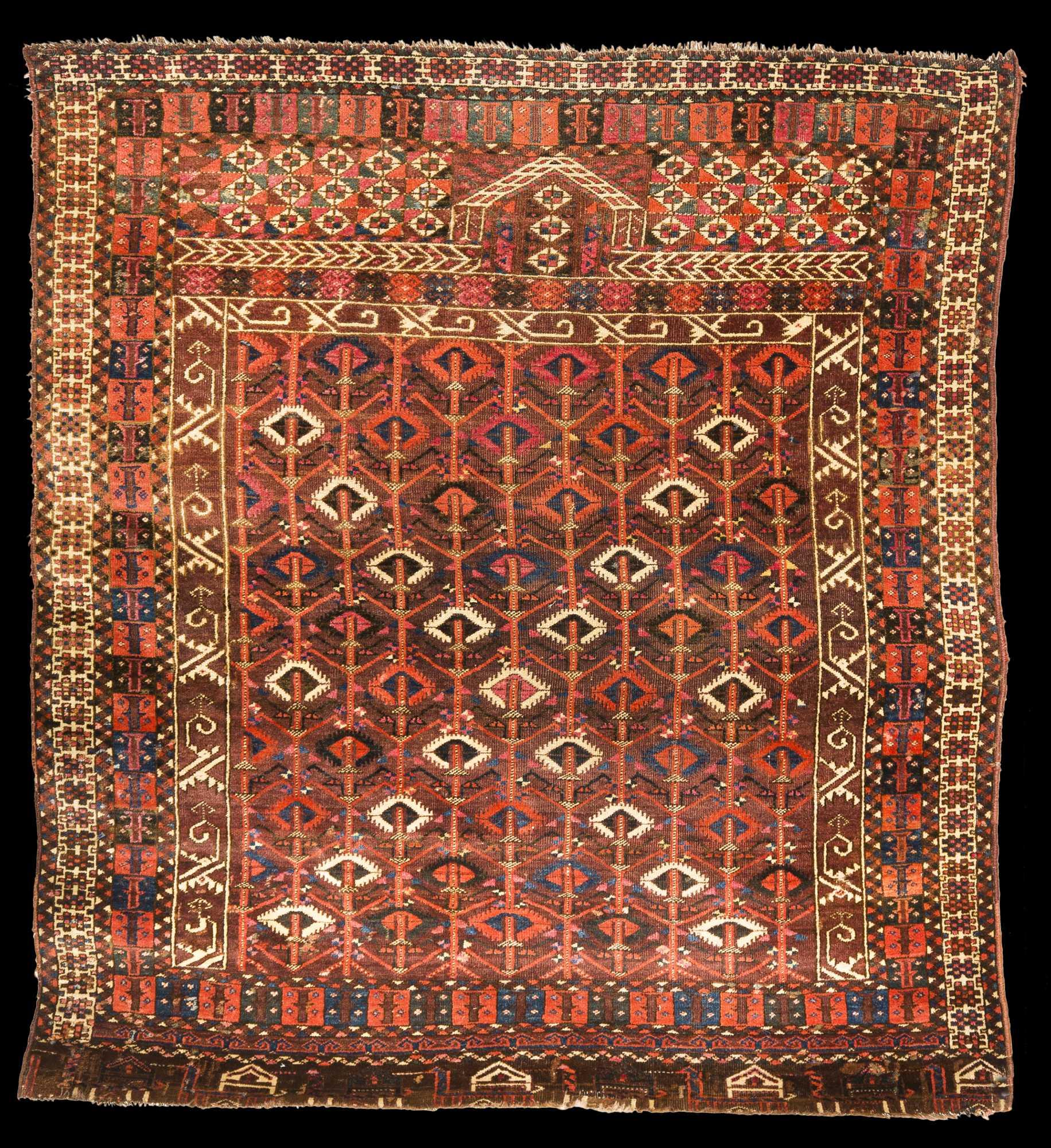 Antique Turkoman Rug: Antique Turkoman Prayer Rug