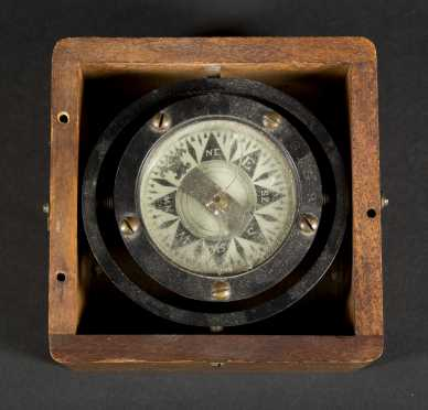 Gimballed Compass in Oak Case