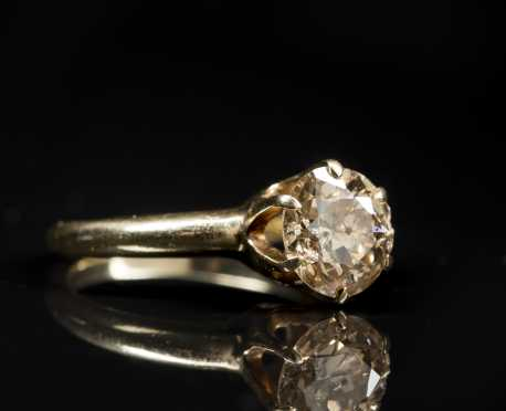 Champagne Solitaire in 14kt. Yellow Gold