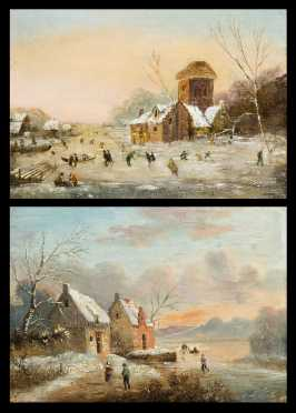 Pair of Winter Scenes by Louis Claude Malabranche, French (1780-1838)