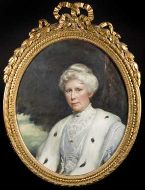 Oval Portrait of a Stately Woman in an Ermine Fur Coat
