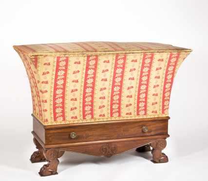French Empire One Drawer Mahogany and Upholstered Hamper Signed by Cabinet Maker Jacob D R Meslee