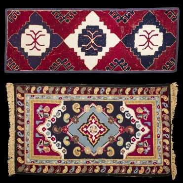 Two Caucasian Style Hooked Rugs