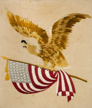 American Eagle and Flag Needlework Picture