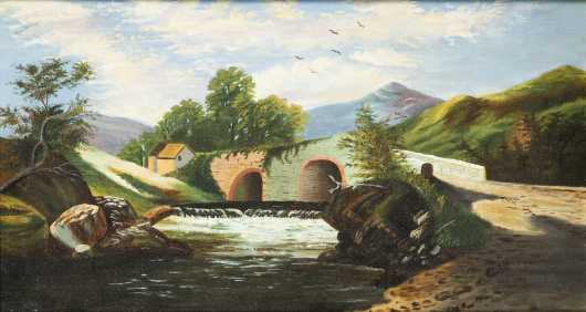 Primitive Hudson River School Painting