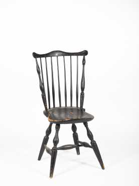 NE Fan Back Windsor Side Chair in the Old Black Paint