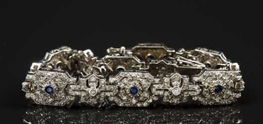 14kt. White Gold and Sapphire and Diamond Bracelet